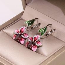 Utimtree Creative 925 Sterling Silver Flower Enamel Drop Earrings for Women Jewelry aaa Cubic Zirconia Wedding Earring Brides