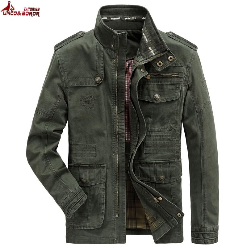 Autumn Winter Jacket Men 100% Cotton Business Casual Cargo Military Multi-pocket Mens Jackets 6XL 7XL Coat Male Chaqueta Hombre