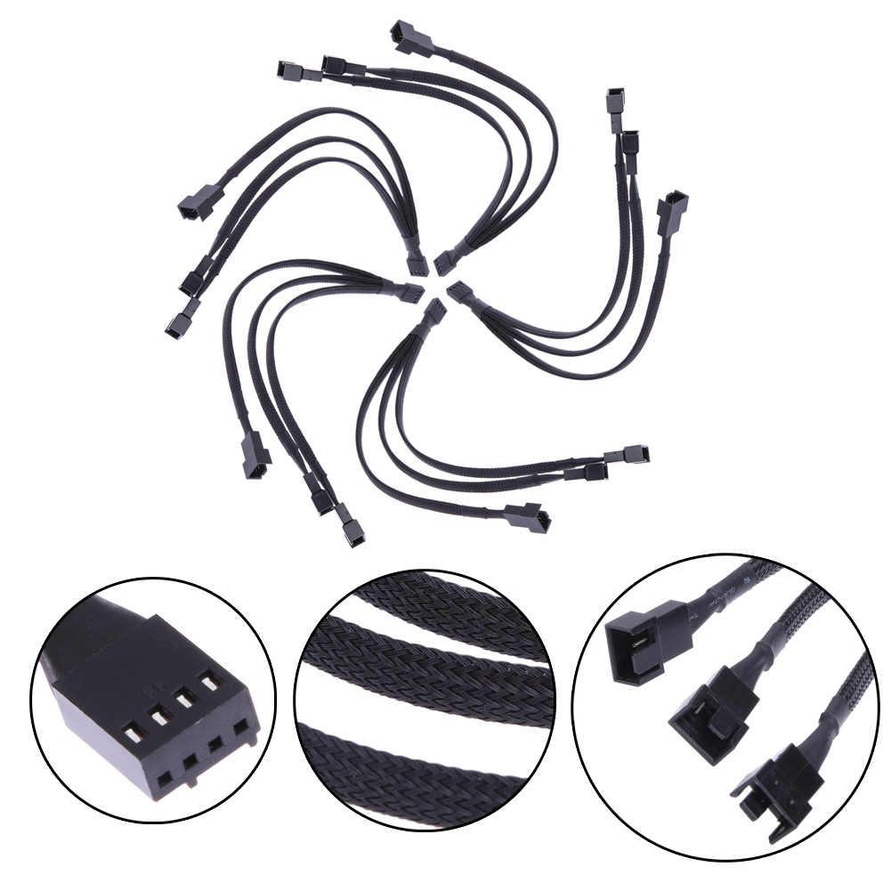 4 ピンのpwmファンケーブル 1 に 3 方法スプリッタ黒長袖延長ケーブル