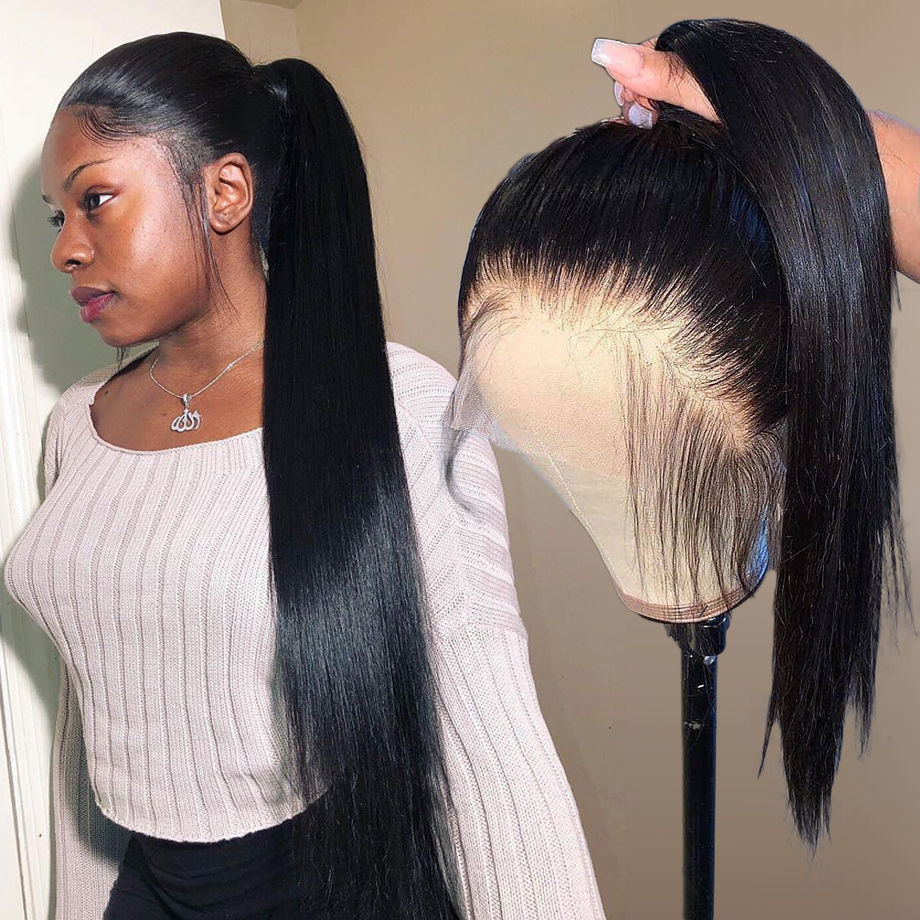 Фронтальные синтетические волосы на 360 градусов, накладные волосы для женщин, черные, прямые, бразильские, передние, hd, длинные, remy, полный шн...