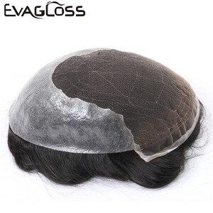 Image 2 - Evaglossメンズかつら 100% 本物の自然なレミー人間の髪かつらフレンチレース薄型puかつらの毛の交換システム