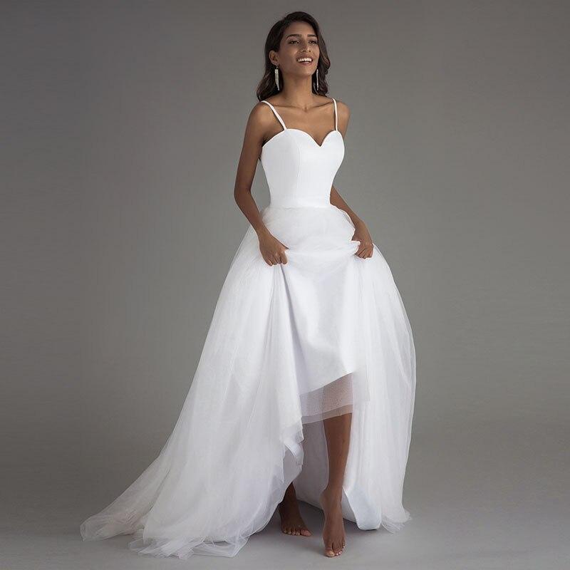 Booma Spaghetti Strap Beach Wedding Dresses 2019 Vestido Noiva  Praia White Tulle with Sashes Boho Bridal Gown A line Bride  dressWedding Dresses