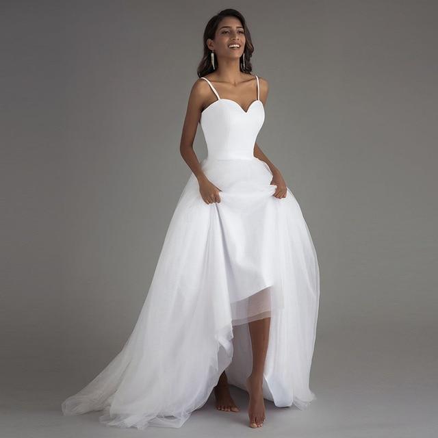 Booma vestidos de novia con tirantes finos para playa, Vestido de novia playa, tul blanco con fajas, bohemio, corte en A, 2019