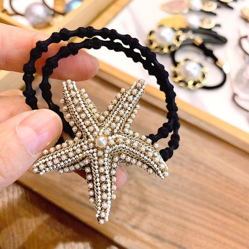 Korea Handmade Retro Starfish Rhinestone Delicate Sweet Hair Rope Duckbill Hair Clips For Women Girl Fashion Hair Accessories