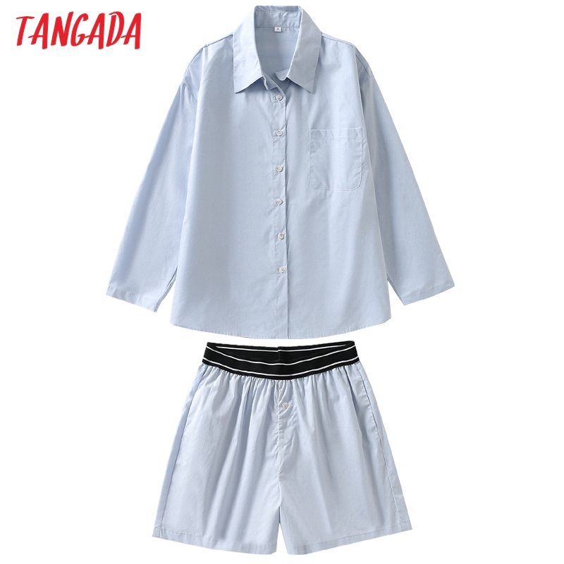 Tangada-Conjuntos de chándal de algodón 100% para mujer, camisa holgada a rayas, pantalones cortos, conjuntos de 2 piezas, Blusa de manga larga, pantalones, trajes 6L37, 2021