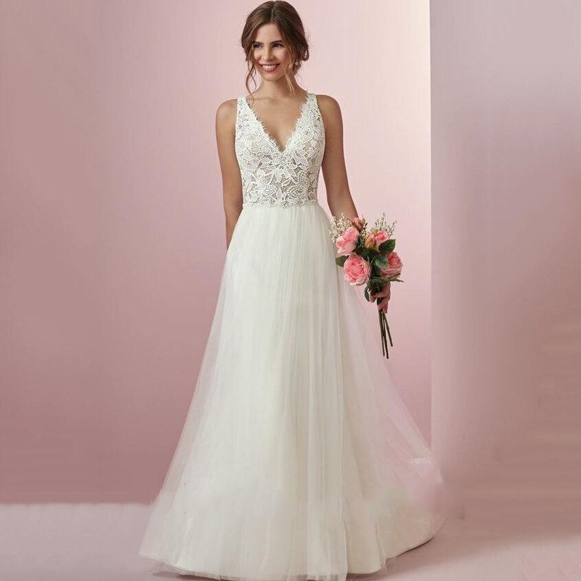 Thinyfull Vestido De Noiva Beach Wedding Dress Boho Wedding Dresses V Neck A-Line Lace Top Bridal Gowns Country Bride Dress