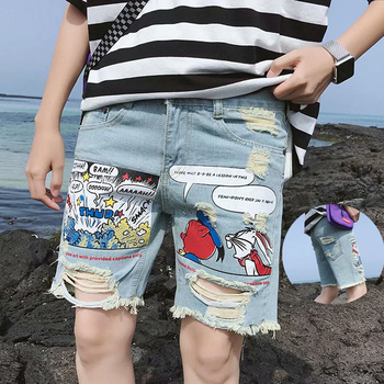 Summer Printed Men's Fashion Ripped Distressed Straight Fit Denim Shorts With Hole Jeans Men Knee Length Zipper Ulzzang Pants