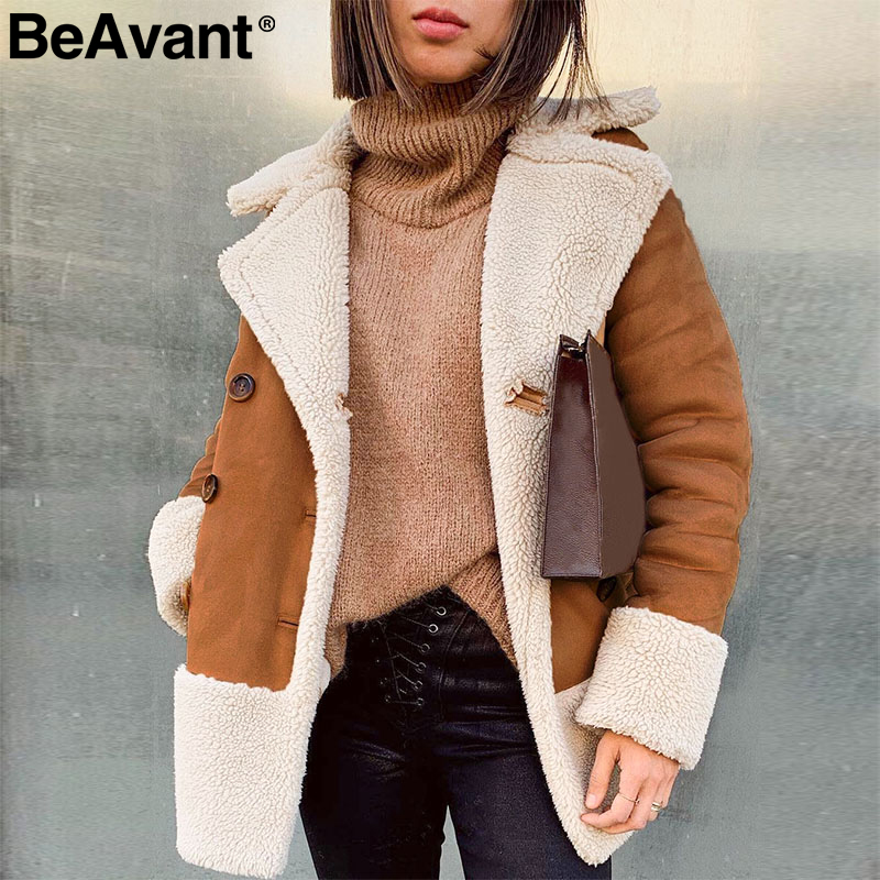 BeAvant Vintage Suede Patchwork Fur Coat Women Buttons Pockets Teddy Warm Overcoat Autumn Winter Streetwear Ladies Long Jackets