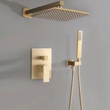 Матовый Золотой квадратный душ смеситель для ванной комнаты латунь дождь Душевая Головка настенный душевой рычаг перепускной смеситель ручной распылитель набор