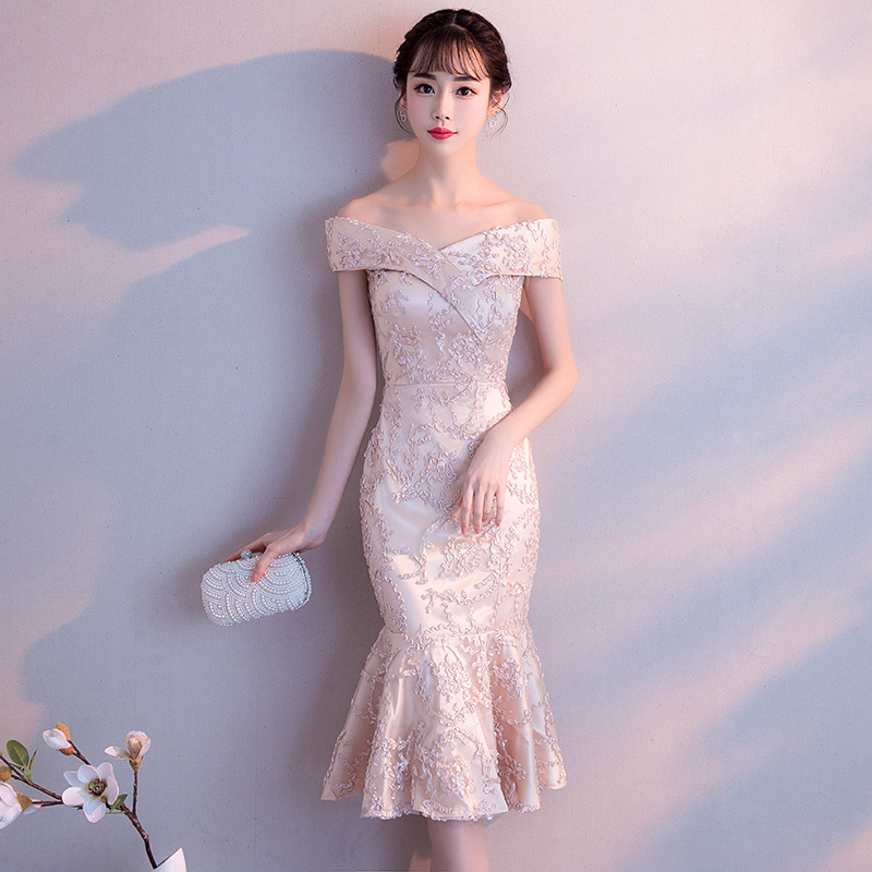 Ladies' Mermaid Dresses Slash Neck Midi Chinese Prom Dress Slim Tight Sexy Evening Party Gown With Lace Up Novelty Luxury Qipao