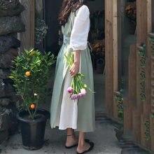 Tablier en coton chanvre coréen, vêtement de travail pour fleuriste français, polyvalent, Simple et japonais