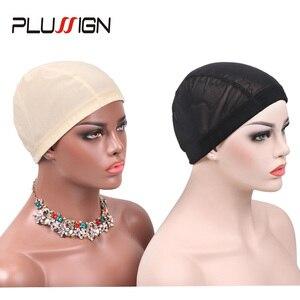 Image 5 - Plussign 12 шт./лот, купольная крышка парика из спандекса с сеткой для изготовления парика, безклеевая ткацкая шапка, парик с сеткой и эластичной лентой для женщин и девочек