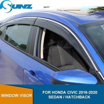 Side Window Deflectors For Honda Civic 10th 2016 2017 2018 2019 2020 Sun Shield Window Visor Sun Rain Deflector Guards SUNZ window visor for buick encore 2013 2018 side window deflectors rain guards for buick encore 2013 2014 2015 2016 2017 2018 sunz