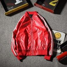 New Autumn Winter Loose Big Size 3 Bars Motorcycle Leather Jacket Men Windbreake