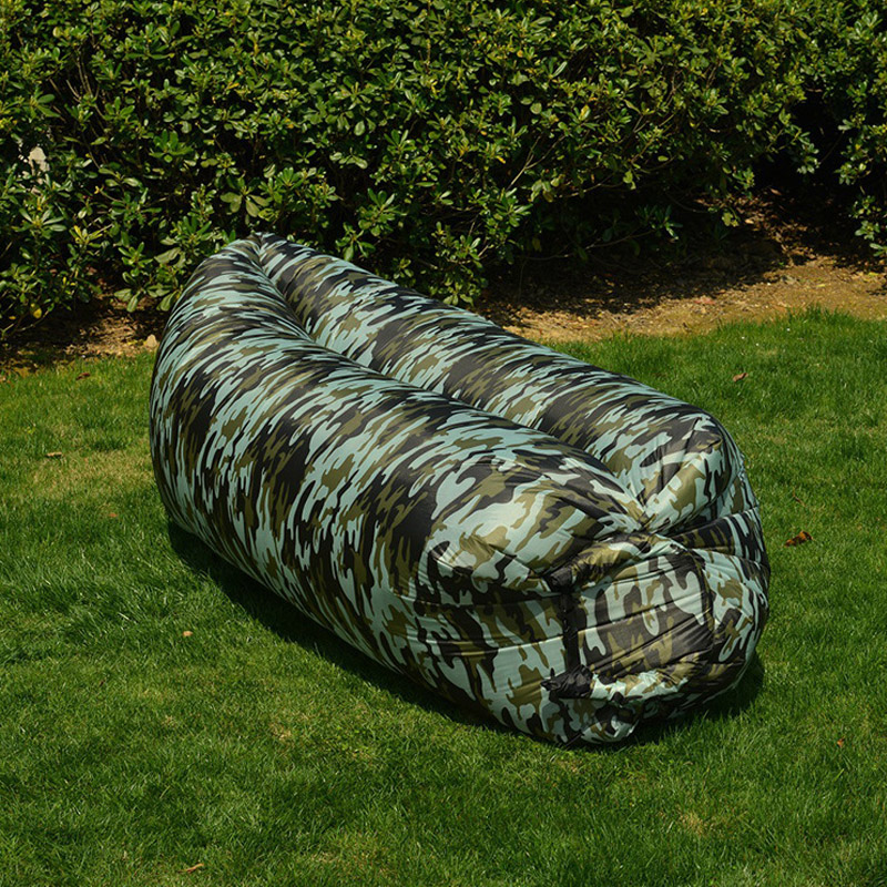 Portable Lazy Inflatable Sofa Outdoor Beach Air Sofa Bed Fashion High Quality Camouflage Inflatable Bed Outdoor Furniture