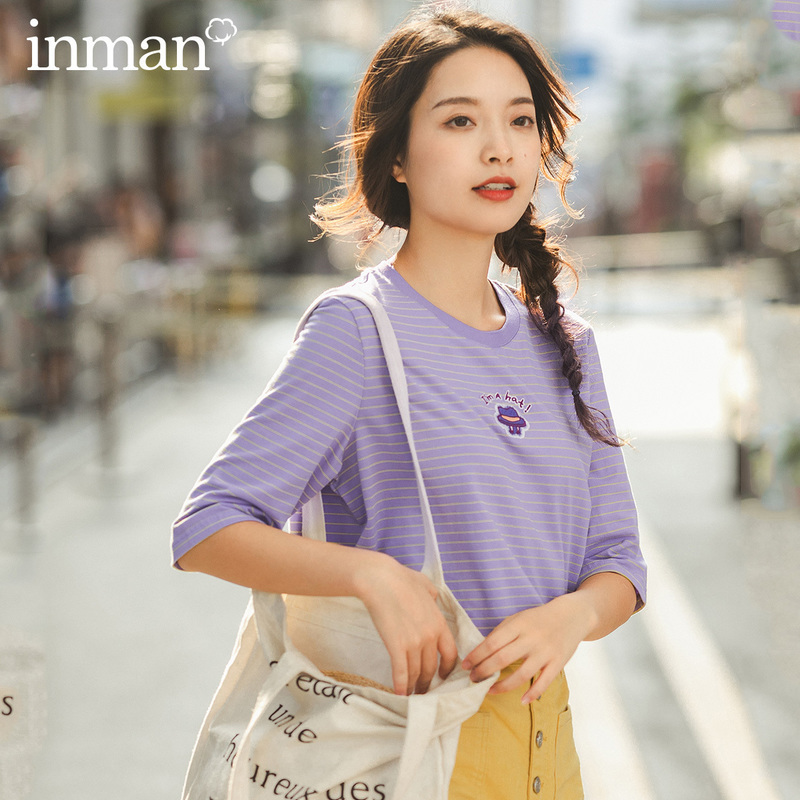 INMAN 2020 Spring New Arrival Cotton Cross Stripe Pattern Elastic Ventilate Medium Sleeve T-shirt