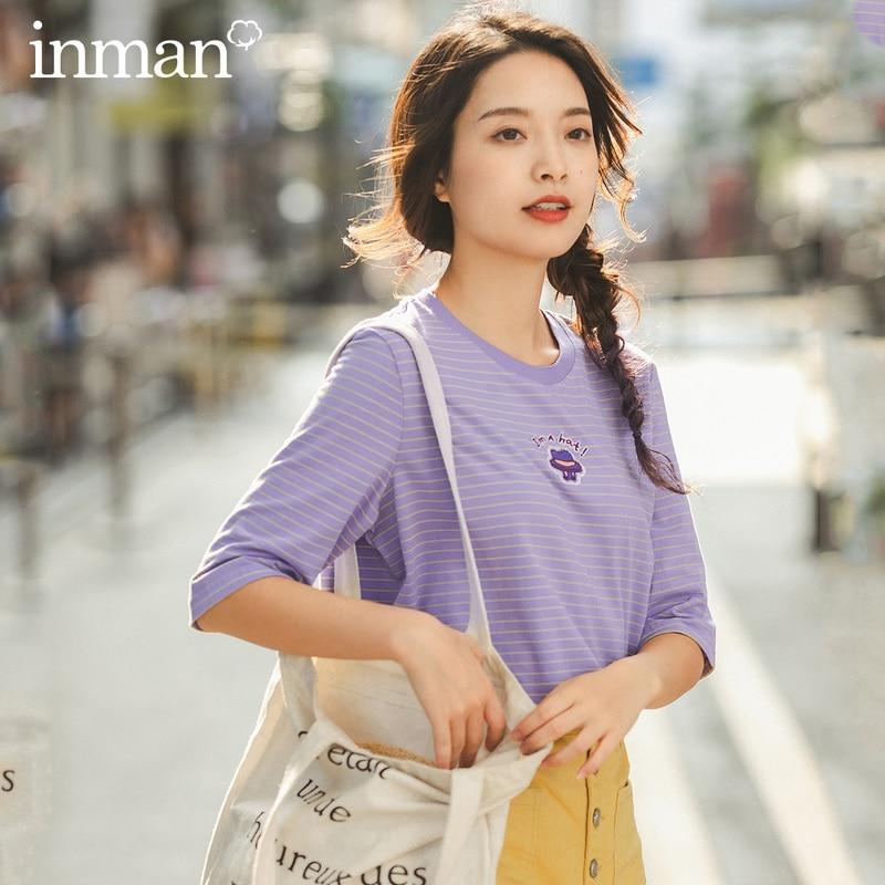 INMAN 2020 Spring New Arrival Cotton Cross Stripe Pattern Elastic Ventilate Medium Sleeve T-shirt