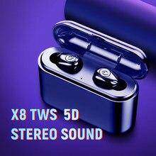 X8 tws bluetooth verdadeiro 5d fones de ouvido estéreo sem fio mini tws à prova dheadágua headfrees 2200mah power bank para telefones inteligentes