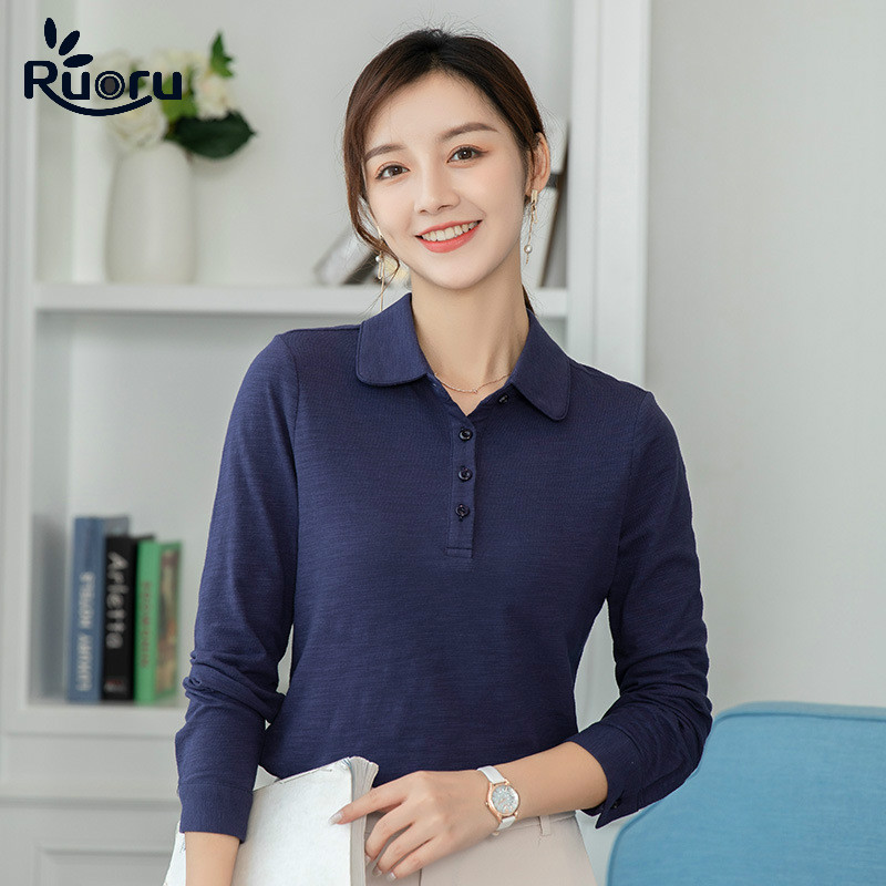 Ruoru Korea Style 100% Cotton Polo Whirt Women Plus Size Blusas Polo Mujer 2020 New Long Sleeve Women Polos Casual Ladies Shirt
