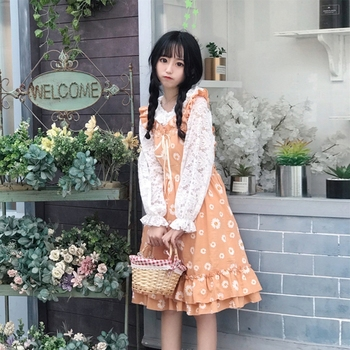 Japanese Sweet Floral Long Ruffled DressTake Trumpet Sleeves restonic shan Suit Female Summer lolita dress goth lolita fairy image