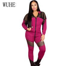 WUHE High Quality Patchwork Mesh 2 Pieces Sets Casual Jumpsuits Long Sleeve Hooded Zipper Bodycon Overalls Women Sport Playsuits