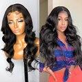 Wigirl 28 30 дюймов объемная волна 4x4 кружева закрытие парик бразильский океанская волна Синтетические волосы на кружеве человеческие волосы па...