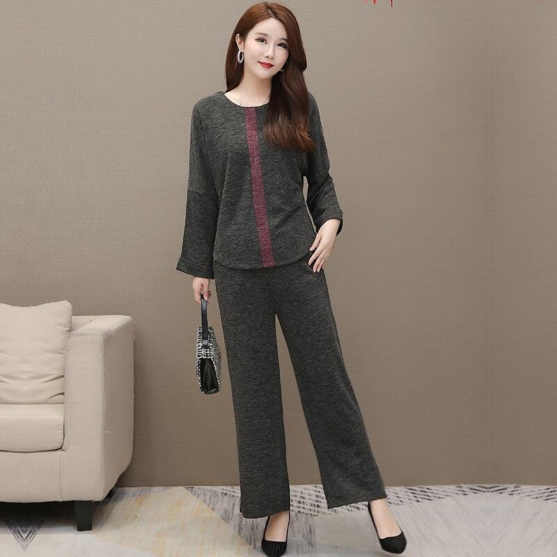 Autumn Winter Grey Two Piece Sets Outfits Women Plus Size Long Sleeve Tops And Pants Suits Elegant Fashion Korean 2 Piece Sets 31