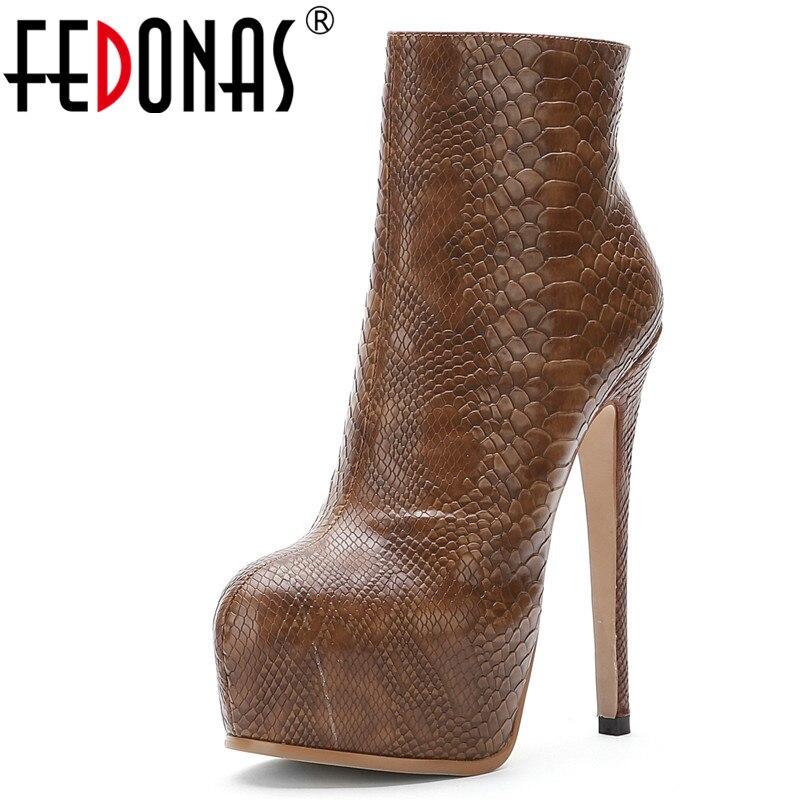 FEDONAS Sexy Super hauts talons parti danse chaussures femme nouveau chaud femme Chelsea bottes femmes en cuir bottines plate-forme bottes