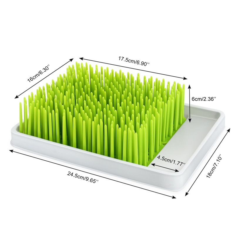 cleaning dryer drainer bpa free green grass style countertop baby bottle drying rack with water tray for babies bottle removable