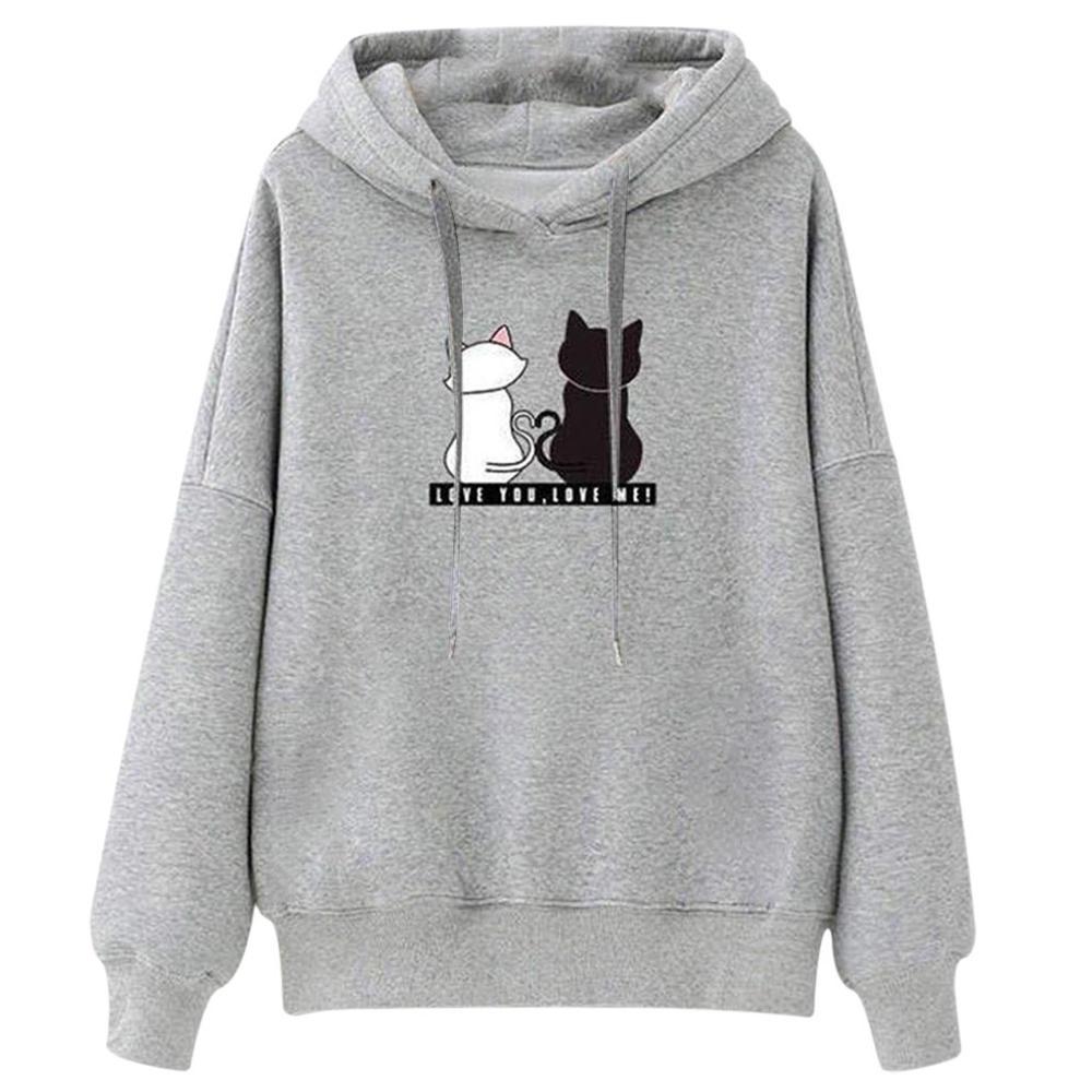 Fashion Women Casual Long Sleeve Cat Print Blouse Hooded Sport Sweatershirt Tops 2019 Autumn Coat Winter Loose Sweatshirt Female