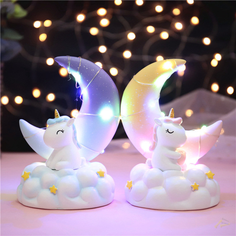 New Blue Starry Sky Moon Night Lamp INS Unicorn Rabbit Children Bedside Decor Resin Night Lights Birthday Gift Illumination