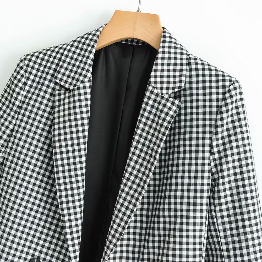 Vintage Double Breasted Plaid Jackets Women Autumn Office Notched Slim Pockets Suit Jacket For Ladies
