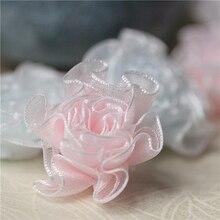 6Pcs 3,3 cm Mini Schnee Garn Falten Zarte Kleine Blumen Kleidung Außenhandel Zubehör Kopf Corsage DIY Handgemachte Accessoires
