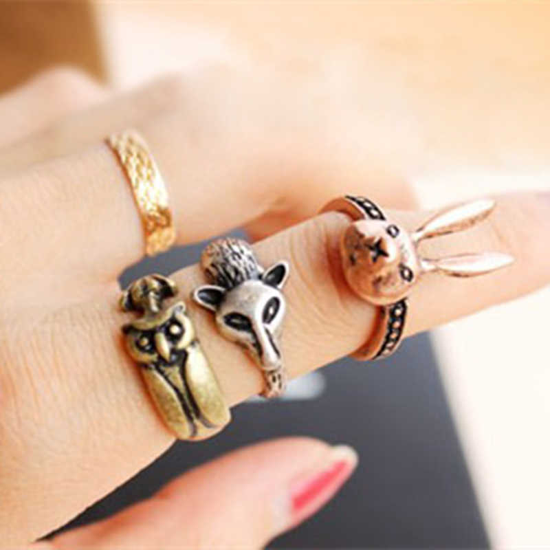 Fox Ring Retro Small Rabbit Owl Personality Ring Jewelry Accessories Wholesales