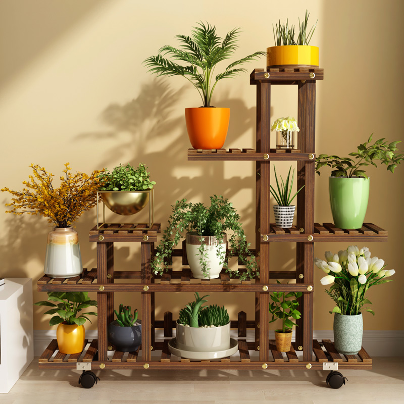Flower, Shelf, Solid Wood, Multi Floor, Indoor, Balcony, Living Room, Home Use, Special Price, Green Pineapple, Shelf