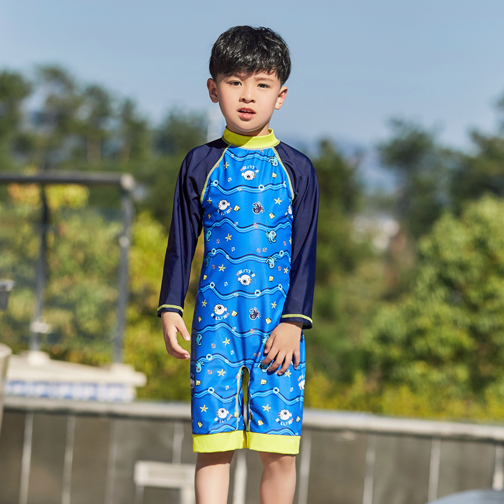 2019 New Style Hot Sales One-piece One-Piece Bathing Suit Long Sleeve Shorts Small Stand Collar Underwater World BOY'S KID'S Swi
