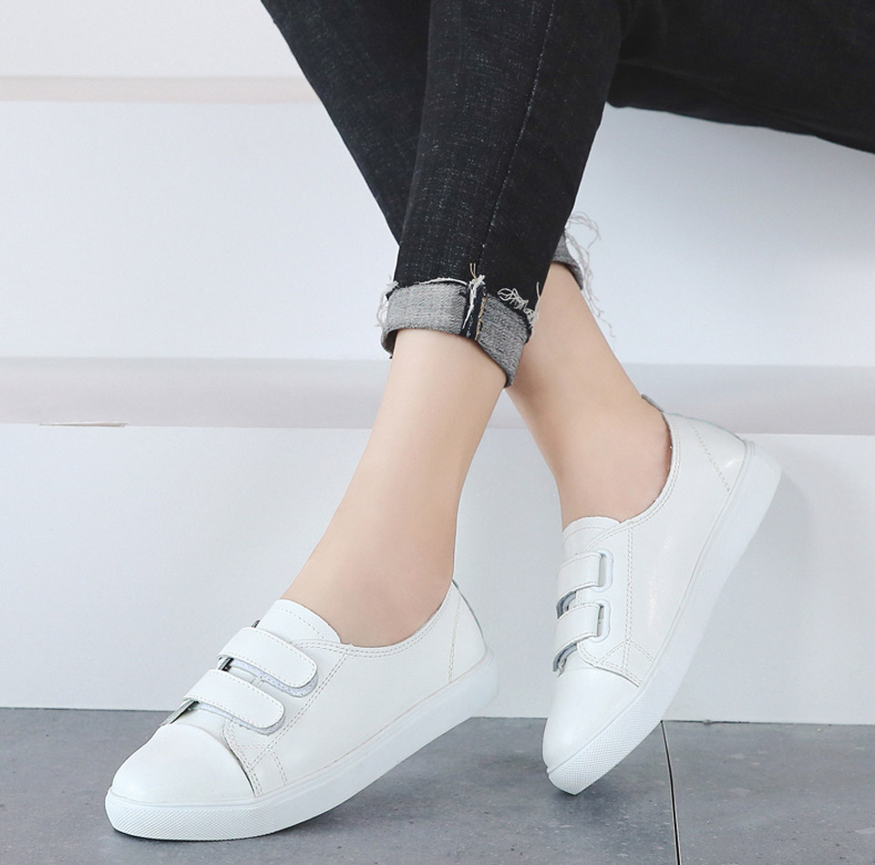 Hbe017d8ee5874dbaa7edcccbafa78404N - Ngouxm Fashion Women Loafers Flats Woman Lady female Slip On White Genuine Leather Moccasins Casual Shoes zapatos de mujer