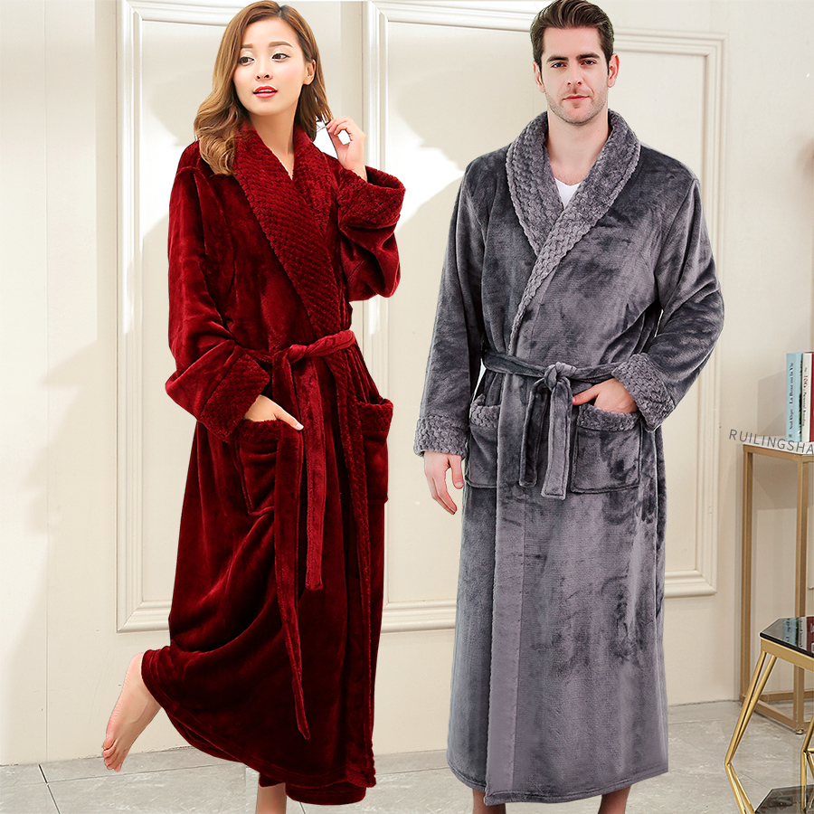 Male Winter Robes Women Long Warm Flannel Bathrobe Lovers Plus Fat Size Extra Long Hooded Dressing Gown Men Hotel Home Bath Robe