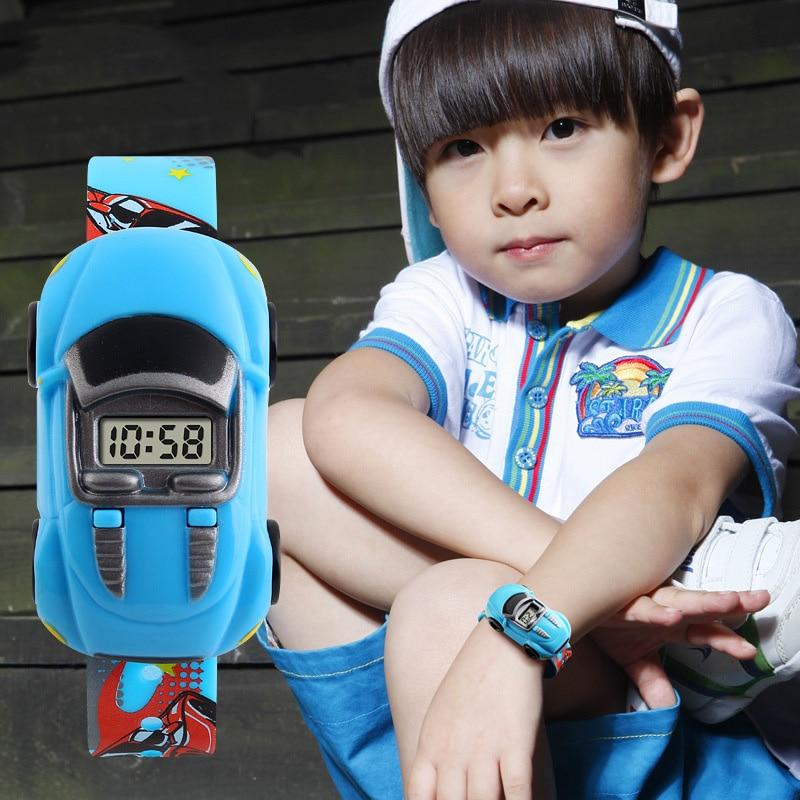 TurnFinger Fashion Children% 27s Электронные часы Симпатичные Мультфильм Автомобиль Внешний вид Съемный Водонепроницаемый Студент Игрушка Праздник Подарок