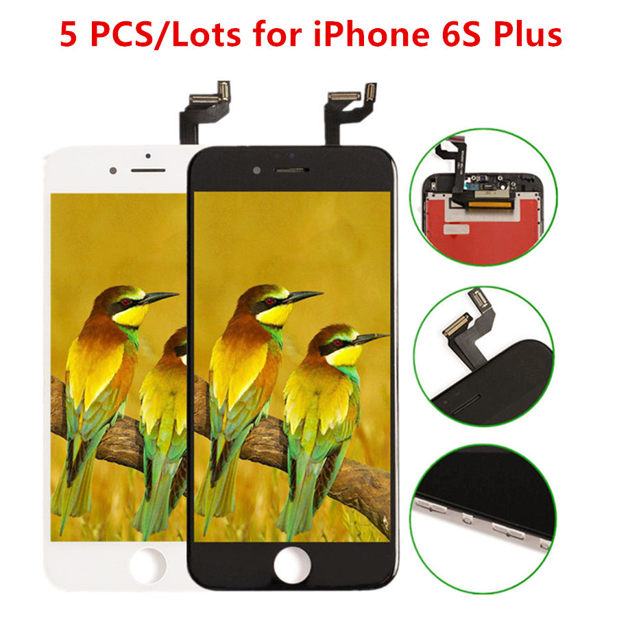 5PCS/Lots Replacement Display For iPhone 6S Plus LCD Digitizer Touch Screen Full Assembly Fix Mobile Phone Repair,Black White image