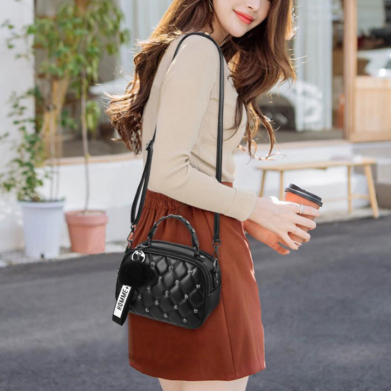 Image 5 - Mini PU Leather Crossbody Bags For Women 2019 Hair ball Shoulder Messenger Bag Ladies Small Rivet Handbags Travel Hand Bag-in Shoulder Bags from Luggage & Bags