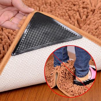 New 4Pcs Home Floor Rug Carpet Mat Grippers Self-adhesive Anti Slip Tri Sticker Reusable Washable Silicone Grip Car Perfume Pad image