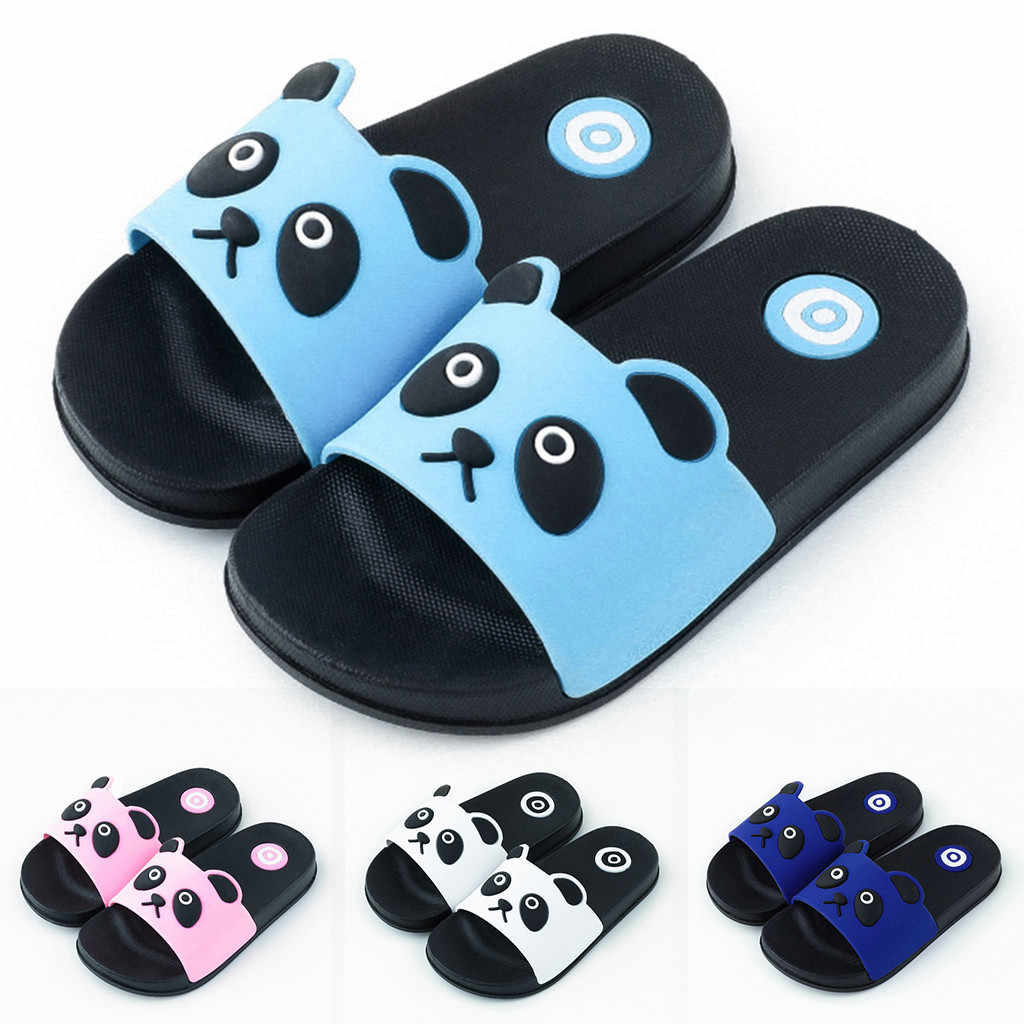 Kids Boy Girl Cartoon Panda Shoes Summer Todder Animal Indoor Baby Flip Flops PVC Anti-Slip Infant Casual Beach Slippers Soft