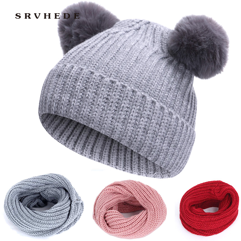 Winter Hat Scarf Boys Girls Knit Solid Color Cute Pompom Hat Thick Plus Velvet