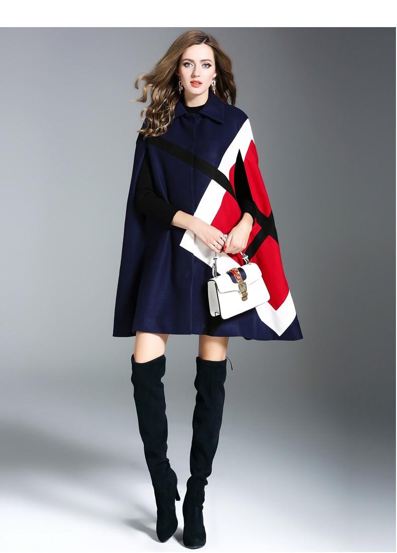 """Осень-зима, женский шерстяной плащ, пончо, шерстяное пальто, подиум, черный, пэчворк, рукав """"летучая мышь"""", твидовый плащ, Толстая теплая верхняя одежда - Цвет: Тёмно-синий"""