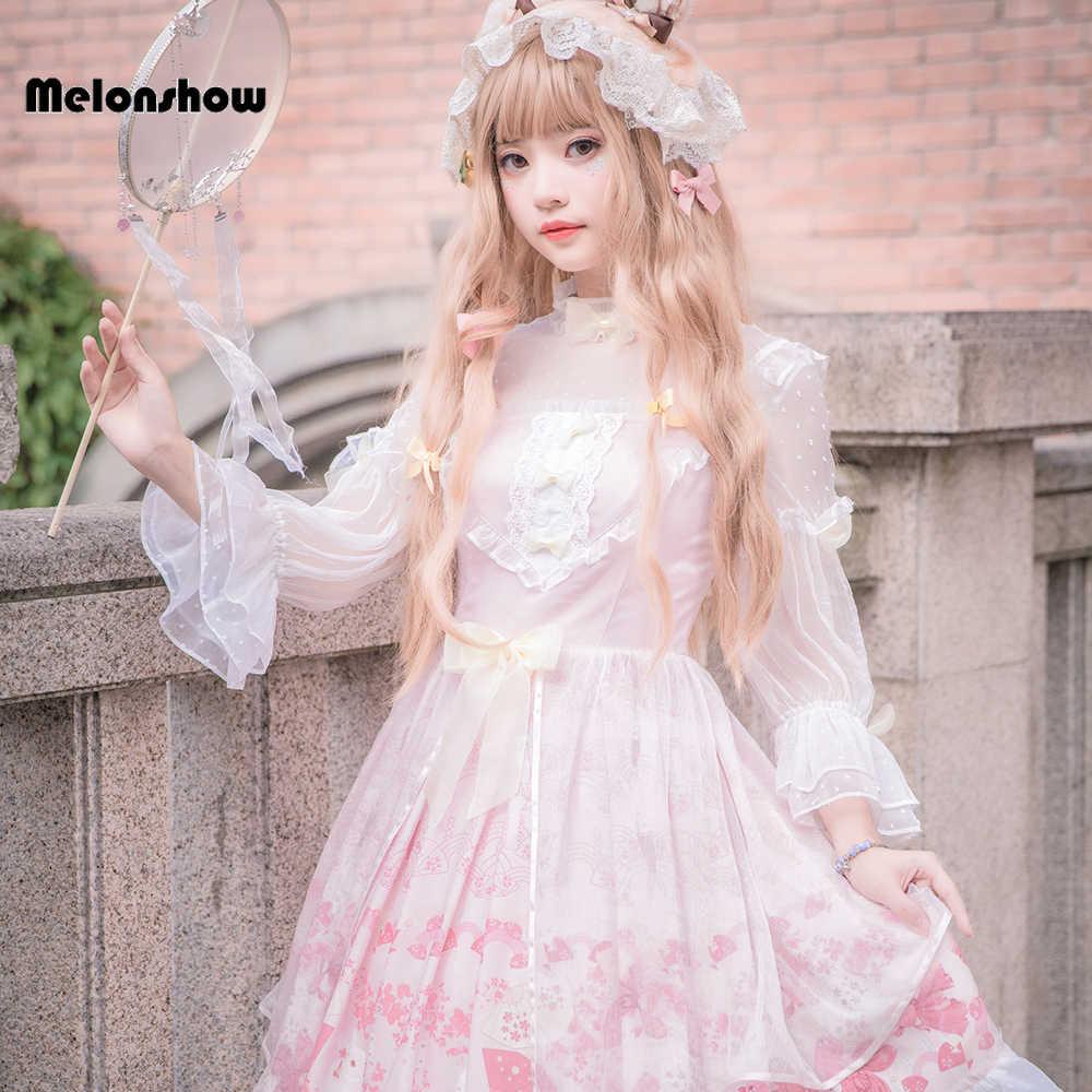 Melonshow Sweet Lolita สีชมพู PLUS ขนาดผู้หญิง Kawaii ฤดูร้อนผู้หญิง VINTAGE Victorian Lolita กระโปรง Loli Kawaii เสื้อผ้า