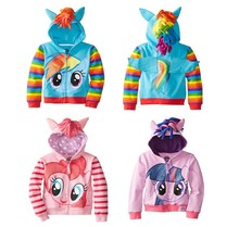 3-10Years Girls Pony Hooded Zip-up Jackets Cute & Hoodies Kids Childrens Cartoon Costumes