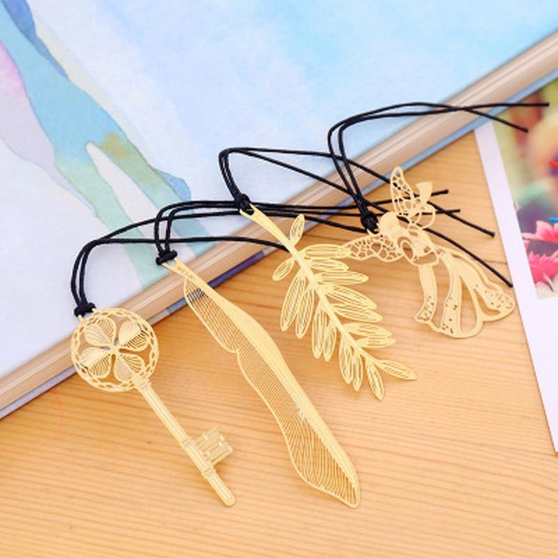 1pcs Mini Metal Bookmark Student Stationery Magnetic Bookmark Novelty Cute Bookmarks Cartoon Teacher Gifts School Supplies