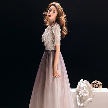 Sequins Chinese Oriental Improved Party Wedding Female Cheongsam Bridesmaid Evening Dress Elegant Celebrity Banquet Dresses