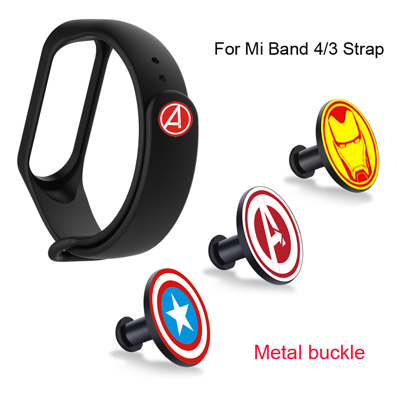 For Mi Band 4 Strap Metal Buckle Avengers Pattern Button Miband 3 Bracelet Mi Band4 Limited Edition Wrist Strap Accessory